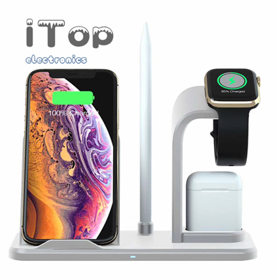 iTop Wireless Charger Stand, Detachable 3 in 1 Wireless Charger, Qi Fast Wireless Charger Fit for Airpods iPhone X/XS/XR/XS MAX/8 Samsung S10/S9/S8/S7/Note10, Wireless Charging Dock for iWatch Series