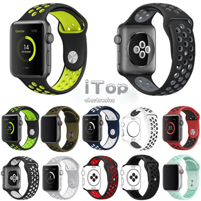 iTop Compatible for Apple Watch Band 38mm 40mm 42mm 44mm,Soft Silicone Sport Band Replacement Wrist Strap Compatible for iWatch Apple Watch Series 4/3/2/1,Nike+,Sport,Edition