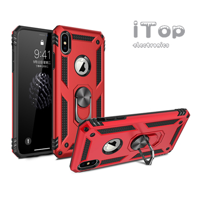 iTop Gadgets Military Grade Case Compatible with iPhone XR Case 360 Metal Rotating Ring Kickstand Holder Built-in Magnetic Car Mount Armor Heavy Duty Shockproof Cover