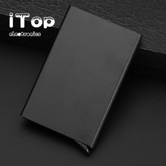 iTop Credit Card Holder Pop Up RFID Blcoking Security Slim Wallet Aluminum Case for Men and Women Up to Hold 5 Cards