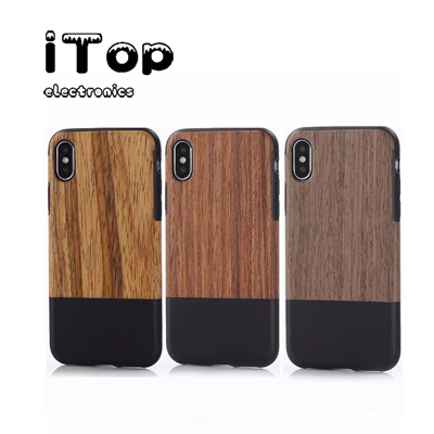 iTop Crazy Horse PU Leather + Wood TPU Case Compatible with iPhone Xs Xs XR Xs Max Case/iPhone X Xs XR Xs Max Case with Wood Grain Outside Soft TPU Silicone Hybrid Slim Case Compatible with iPhone X X