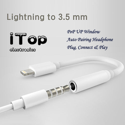 iTop Pop Up Window Headphone Adapter Bluetooth Lightning to 3.5mm Headphone Jack Adapter Audio Cable For Apple iPhone 11 XI XIR iPhone 7 8 X Xs XR XsMax