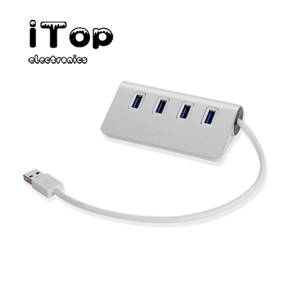 iTop 4-Port USB 3.0 Unibody Aluminum Portable Data Hub with USB 3.0 Cable for Macbook, Mac Pro / mini, iMac, XPS, Surface Pro, Notebook PC, USB Flash Drives, Mobile HDD and More