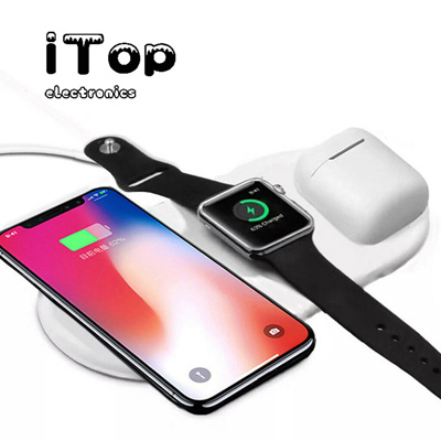 Airpower Wireless Charger Pad 3 in 1 Qi Wireless Charger Holder for Apple Airpod 2, iTop Faster Charging, 2-3 Hours