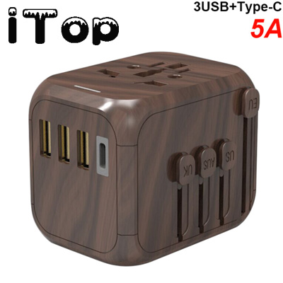 iTop International Travel Adapter, European Universal Travel Adapter, Travel Electrical Adapter, UK Power Adapter, Worldwide AC Outlet Plug Adapter with 3 USB & USB-C Charger for Over 170 Countries