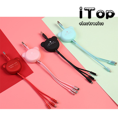 iTop Multifunction Bear Shape Retractable 3 in 1 USB Cable Charging for iPhone Android Type C