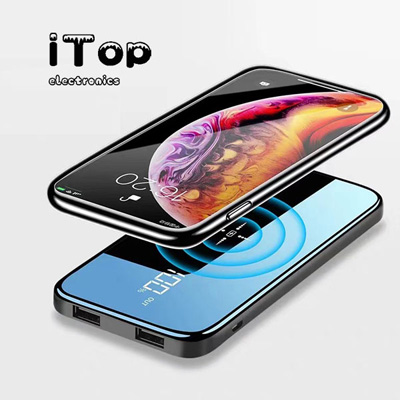 iTop Qi Wireless External Charger 10000mAh Power Bank Full Mirror Screen Display For iPhone Samsung