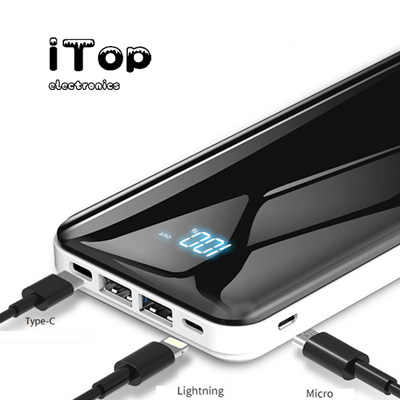 iTop Portable Charger, LED Display 20000mAh Power Bank with iPhone Lightning, Type C & Micro USB