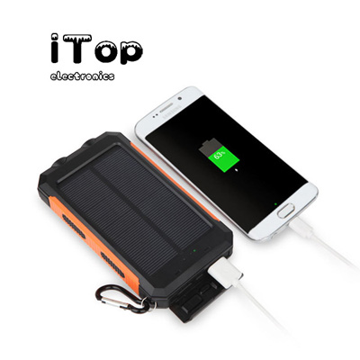 iTop Waterproof Solar Charger, 20000mAh Solar Power Bank, Portable External Backup Battery, Dual USB Phone Charger with 2 LED Light and Compass for Smartphones and Tablet - in Gift Wrap