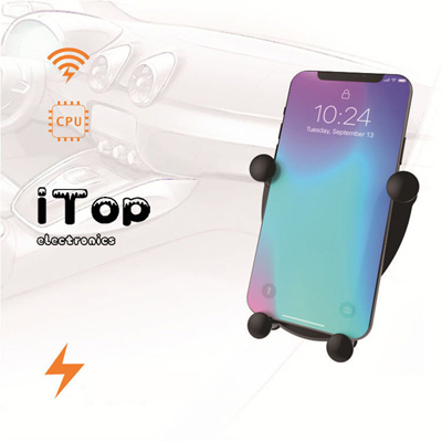 iTop W4 Wireless Car Charger, Auto-Clamping Gravity Air Vent Car Phone Holder 10W Fast Charging Compatible with iPhone 11/11pro/11pro MAX/Xs MAX/XS/XR/X/8/8p, Samsung Galaxy S20+/S20 Ultra/S10/S10+/S9