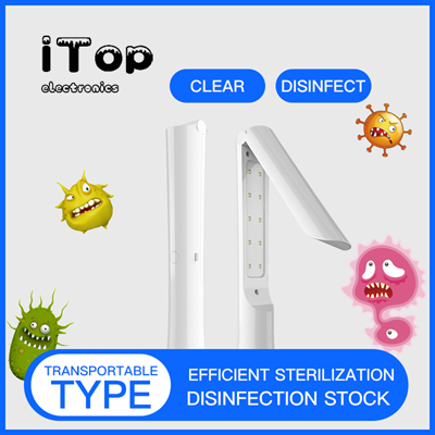iTop Portable 3W UV Wand, Handheld Waterproof UV Lamp Sterilizer for Household Wardrobe Toilet Car Kitchen Toys Pet Area, Travel Size Air Purifier