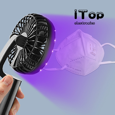 iTop Multi Function Mini Handheld Fan 99% Efficiency Sanitizer Blue UV-C LED Light UV Disinfection Germicidal Stick Portable Fans 3 Speed Sterilizing for Phone, Keys, Mask, Tableware etc Disinfecting