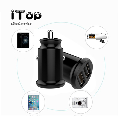 iTop USB Car Charger, [Dual QC3.0 Port] 36W/6A [All Metal] Fast Car Charger Mini Cigarette Lighter Usb Charger Quick Charge Compatible with iPhone 11/11 pro/XR/X/XS, Note 9/Galaxy S10/S9/S8