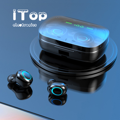 iTop True Wireless Earbuds Bluetooth EarbudsTWS Wireless Headphones Bluetooth Headphones with LED Battery Display Wireless Earphones with Charging Case Stereo Sound (S11-Black)