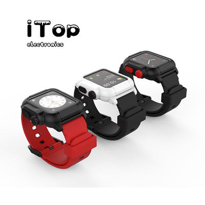 iTop Waterproof Apple Watch Case 42mm Series 1, 2, 3 & 4 With Premium Soft Silicone Apple Watch Band by iTop, Shock Proof Impact Resistant rugged iWatch protective case