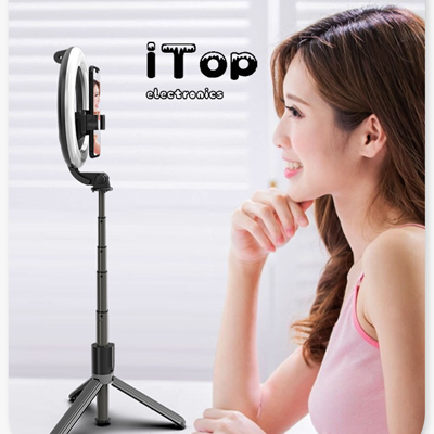 iTop Generic L07 Bluetooth Selfie Stick 5 Inch Ring Fill Light Anchor Beauty Light Mobile Live Support