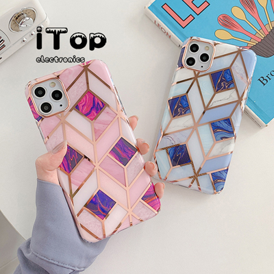iTop Ready Stock Casing Marble IPhone 6/6Plus/7/7Plus/X/Xr/Xs Max/IPhone 11/11 Pro/11 Pro Max For iPhone SE 2020 Case Chrome Geometric Rose Gold Splice Bumper Glossy IMD Marble