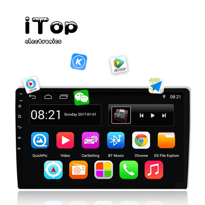 iTop Car Stereo Double Din Android Navigation Stereo 10 Inch HD Touch Screen in Dash Car Stereo with Bluetooth GPS WiFi FM Radio Support Mirror Link, Steering Wheel Control, Rear View Camera/Dual USB