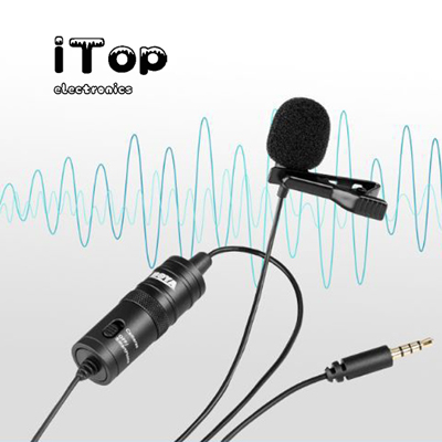 iTop Made 19 Feet Lavalier Microphone for Canon iPhone Podcast, BOYA Omnidirectional Condenser Recording Mic for Nikon Sony iPhone 8 8 plus 7 6 6s Plus DSLR Camcorder Audio Recorder Youtube Interview