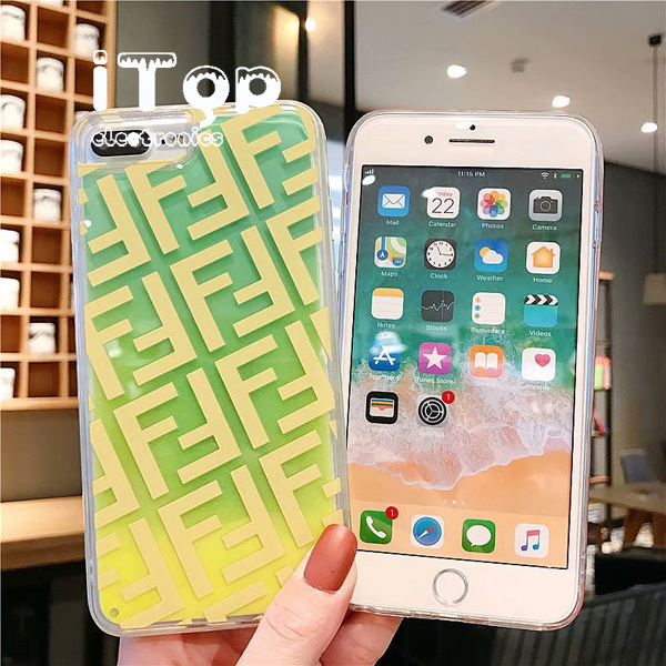 iTop Made Fashion Luminous Fendi Liquid Glitter Quicksand Phone Case IPhone X XS XR XSMax 8 7 6 6s Plus Cover