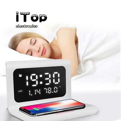 iTop Alarm Clock with Wireless Charging LED Display Digital Alarm Clock Snooze Night Light Clock 3 Alarm Settings with Date Calendar Temperature for Home Bedroom Office
